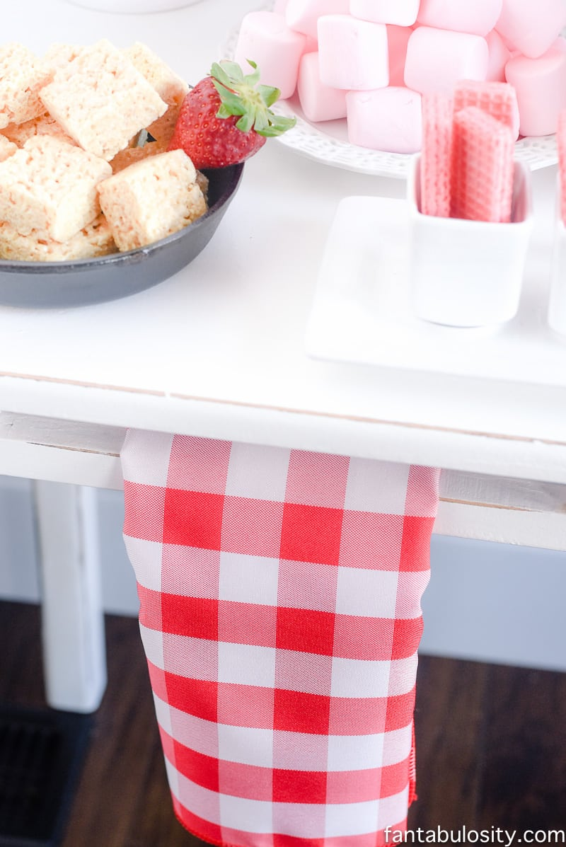 Red white check napkin for party display table: Chocolate Fountain Bar Ideas: A Modern, Rustic, Pink Party Display