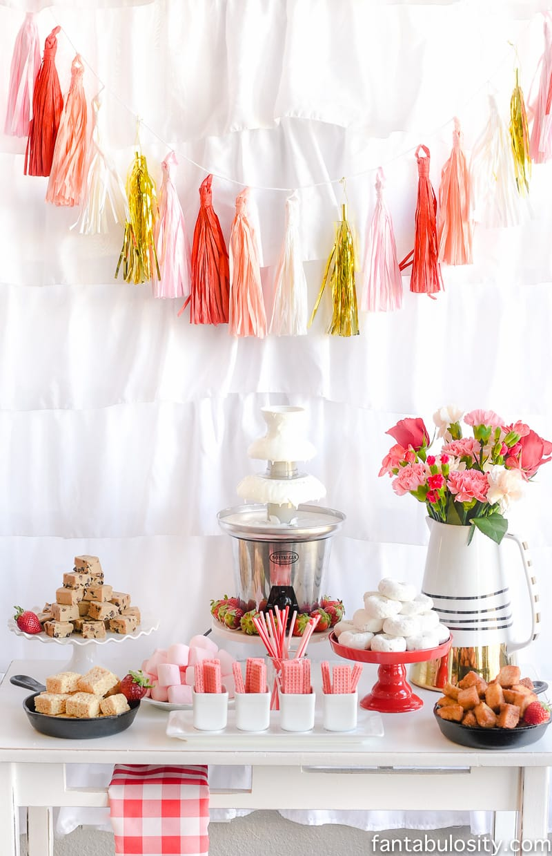 Chocolate Fountain Bar - Party Theme for Adults- Our Love is Sizzlin' Dinner Party & Dirty Cupid Game