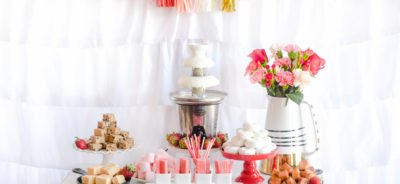Chocolate Fountain Bar Ideas: A Modern, Rustic, Pink Party Display