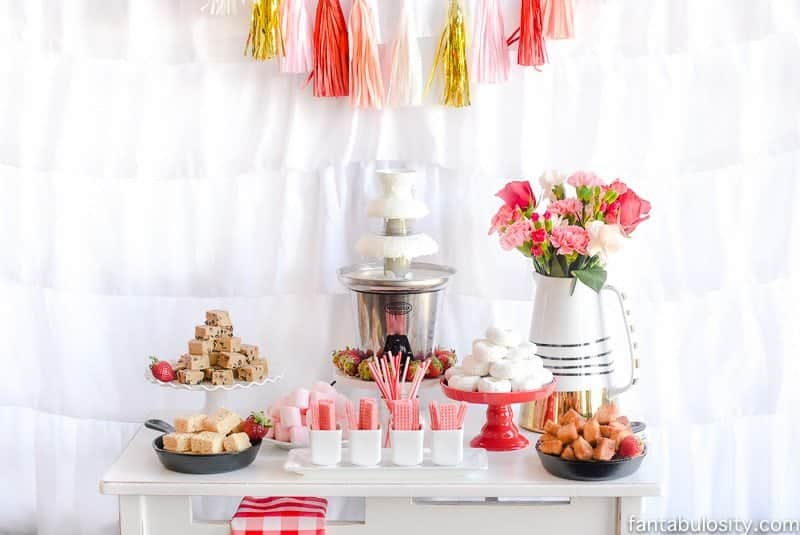 Chocolate Fountain Bar Ideas + Rustic Pink & Red Party