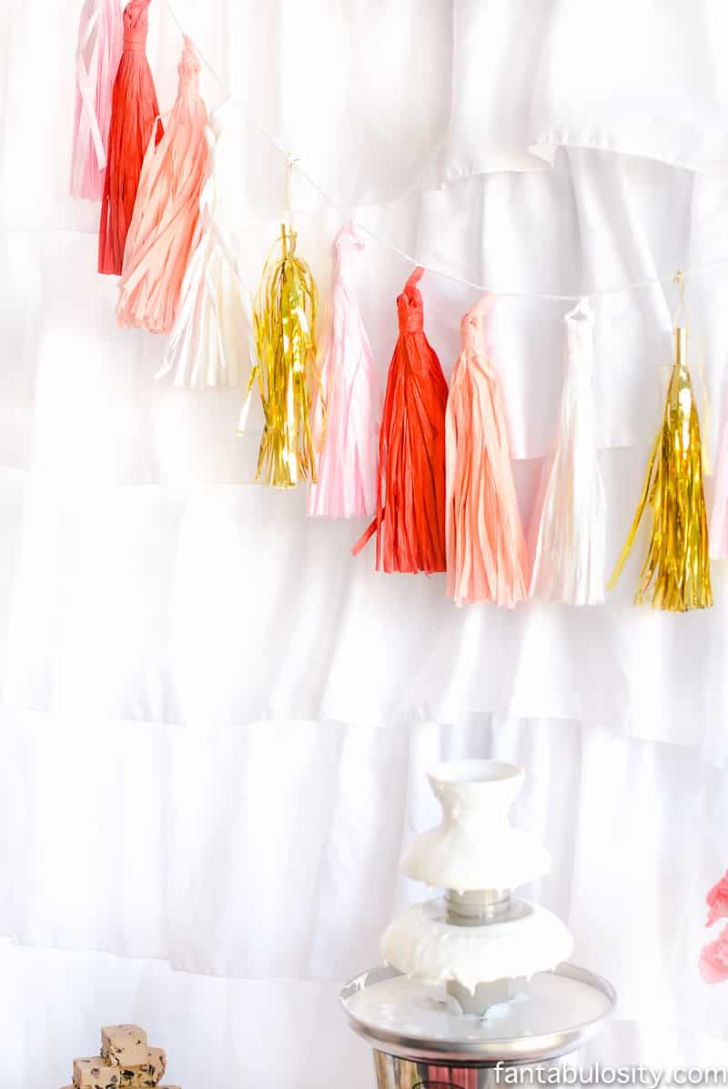 Pink, red, coral, gold, tassel banner for party backdrop: Chocolate Fountain Bar Ideas: A Modern, Rustic, Pink Party Display