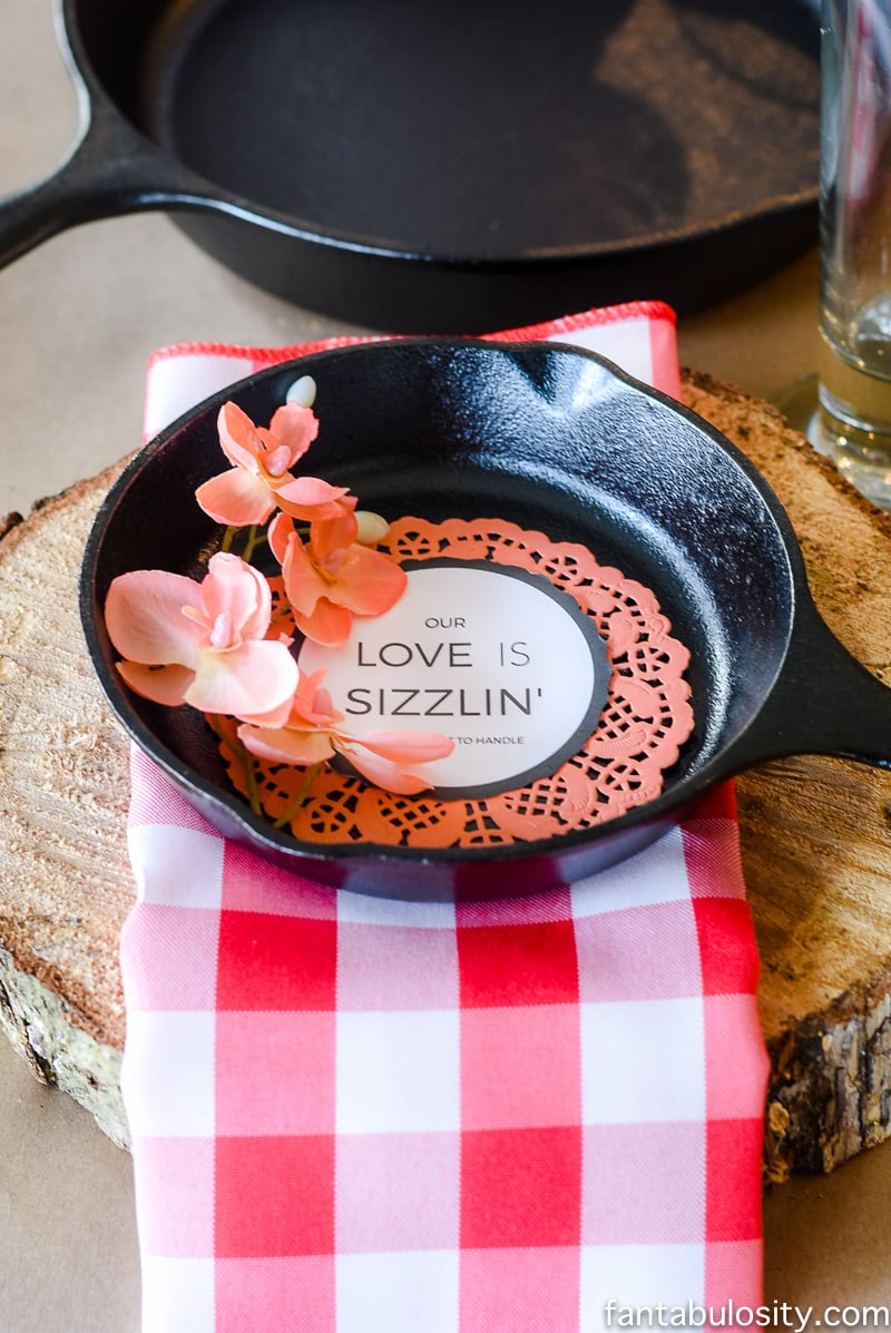 Ahhh!!! Cast Iron Dinner Party! SO stinking cute! Party Theme for Adults- Our Love is Sizzlin' Dinner Party & Dirty Cupid Game