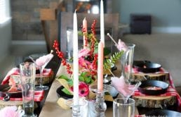So pretty! Pink, coral, red tablescape! Party Theme for Adults- Our Love is Sizzlin' Dinner Party & Dirty Cupid Game