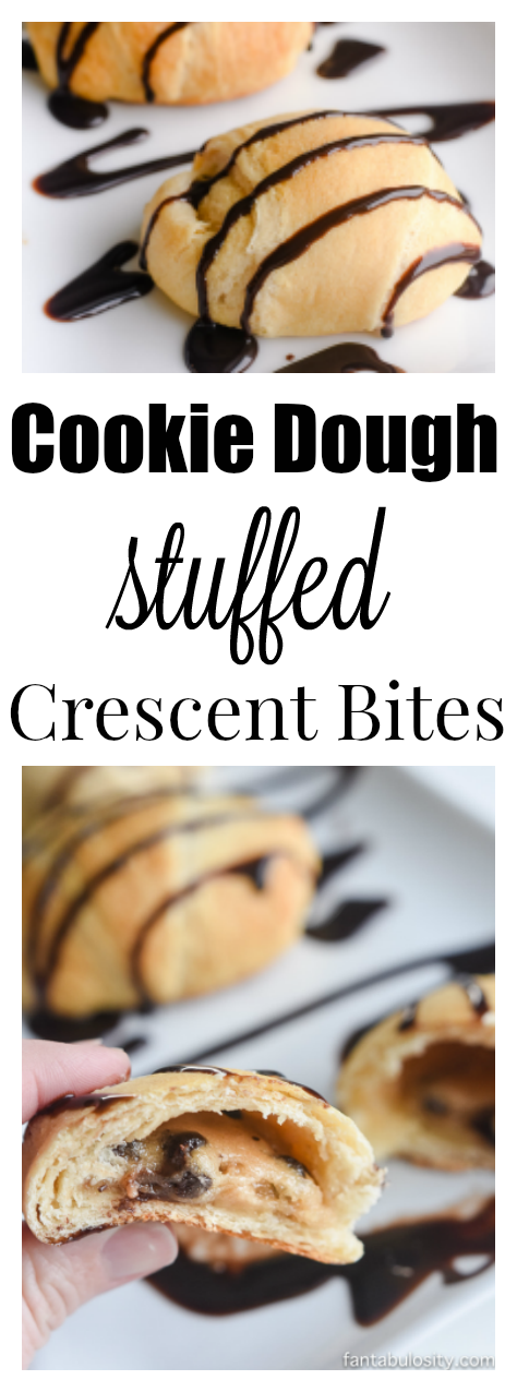 2 Ingredients!! Holy cow these are easy and looks ah-mazing! Cookie dough stuffed crescent bites!