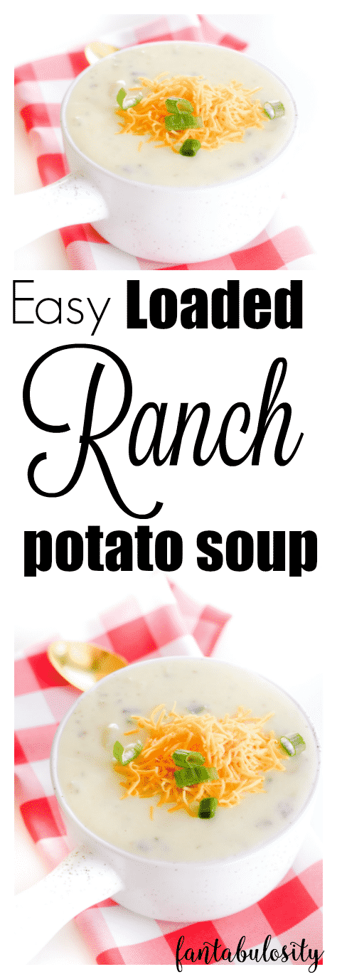"""Mmmmm! I had never thought of adding ranch to potato soup. So easy and """"loaded?!"""" Yes please!!"""