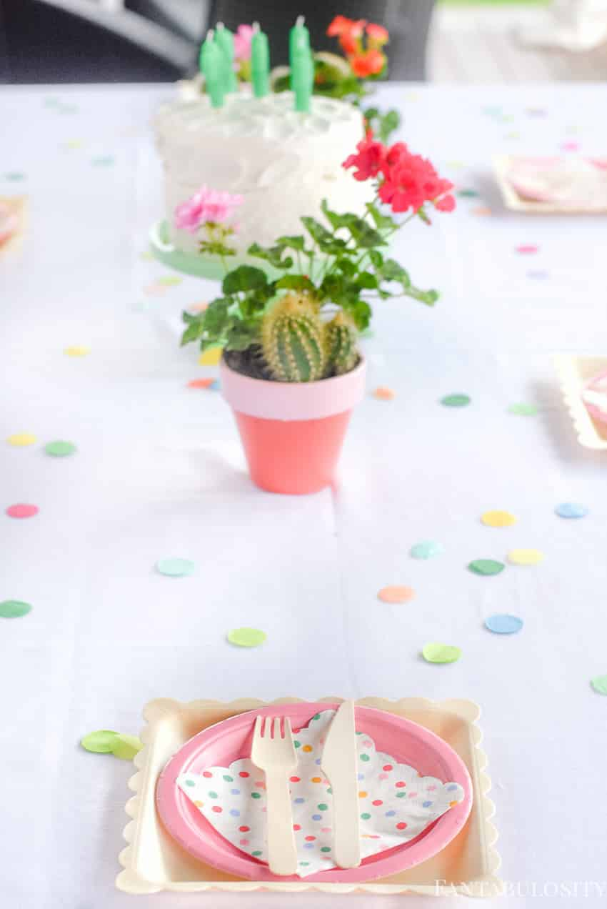 Pink and birch paper plates for Fiesta Theme Party: A confetti and pastel fiesta party!