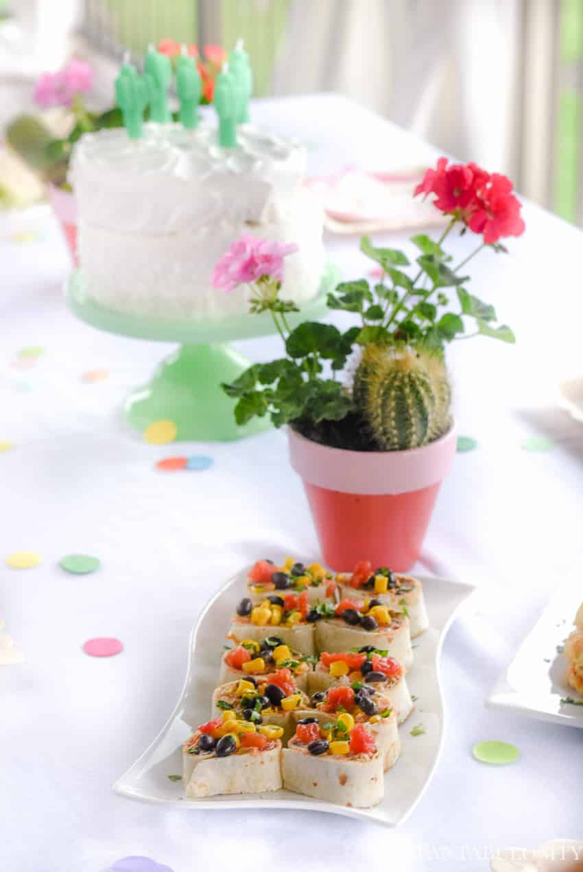 Mmm! Mexi-Pinwheels appetizer for a fiesta party theme idea!