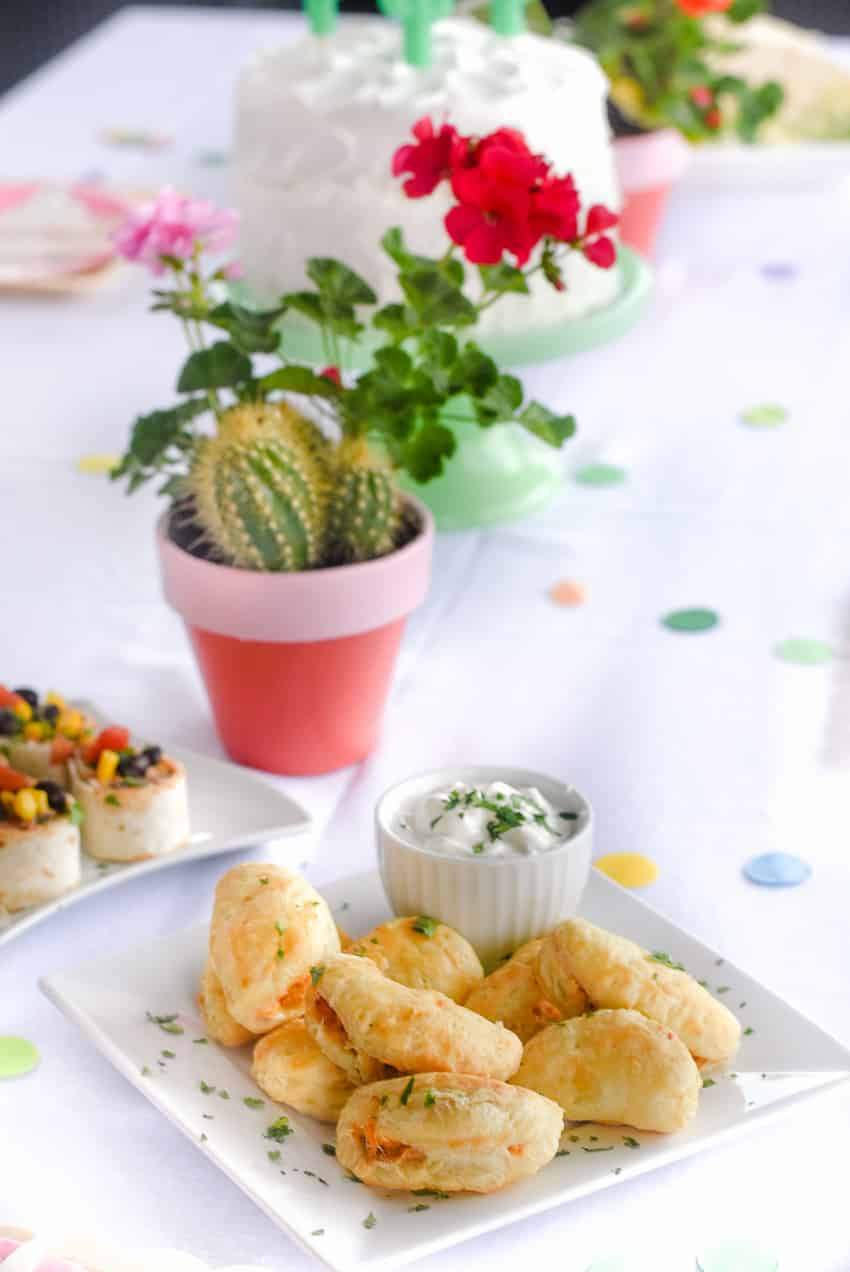 Chicken Empanadas using puff pastry! Yum! Quick and Easy appetizer for a fiesta themed party
