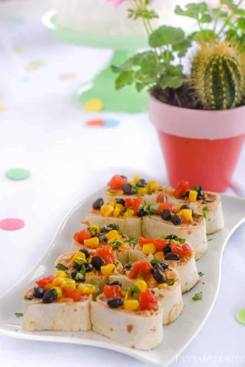 YUM! Mexi-Pinwheels for a no-cook appetizer, for a fiesta party theme idea
