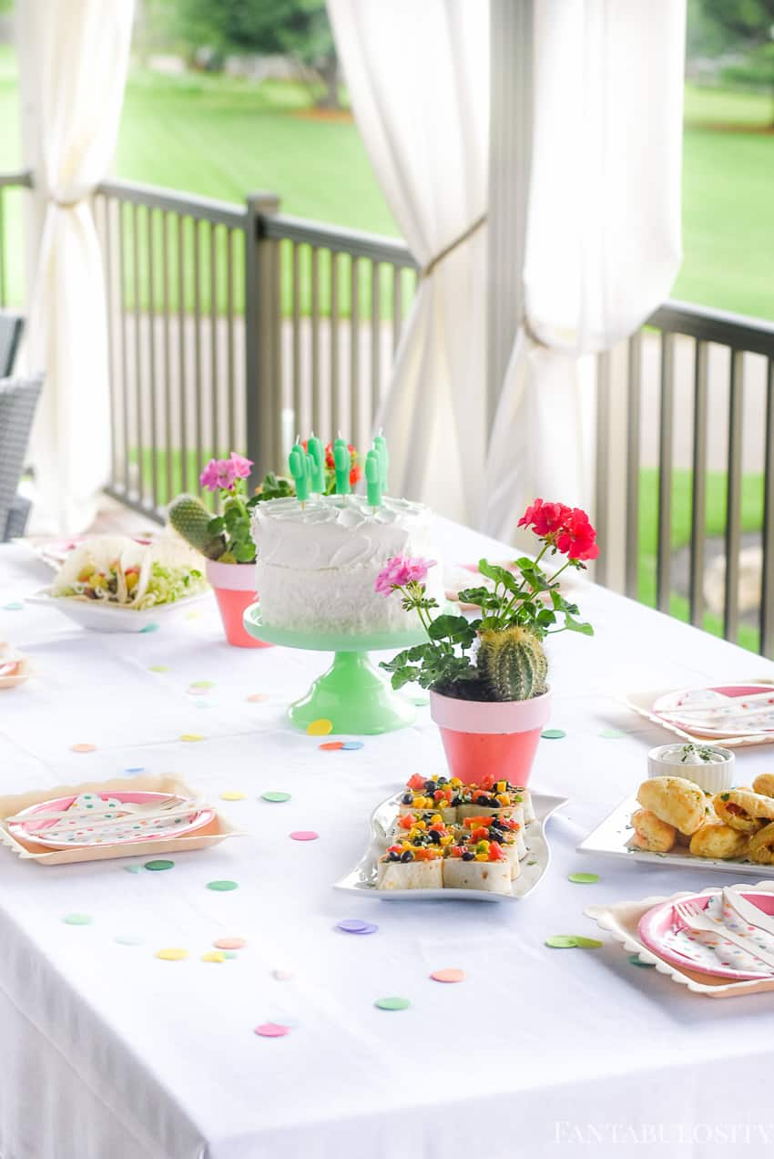 Menu and bite size appetizers for a Fiesta Theme Party: A confetti and pastel fiesta party!