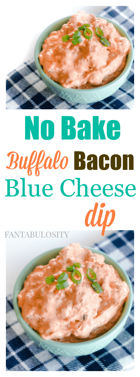 HOLY smokes! A no bake buffalo bacon blue cheese dip She serves it with french fries or even on top of a steak. This sounds amazing!