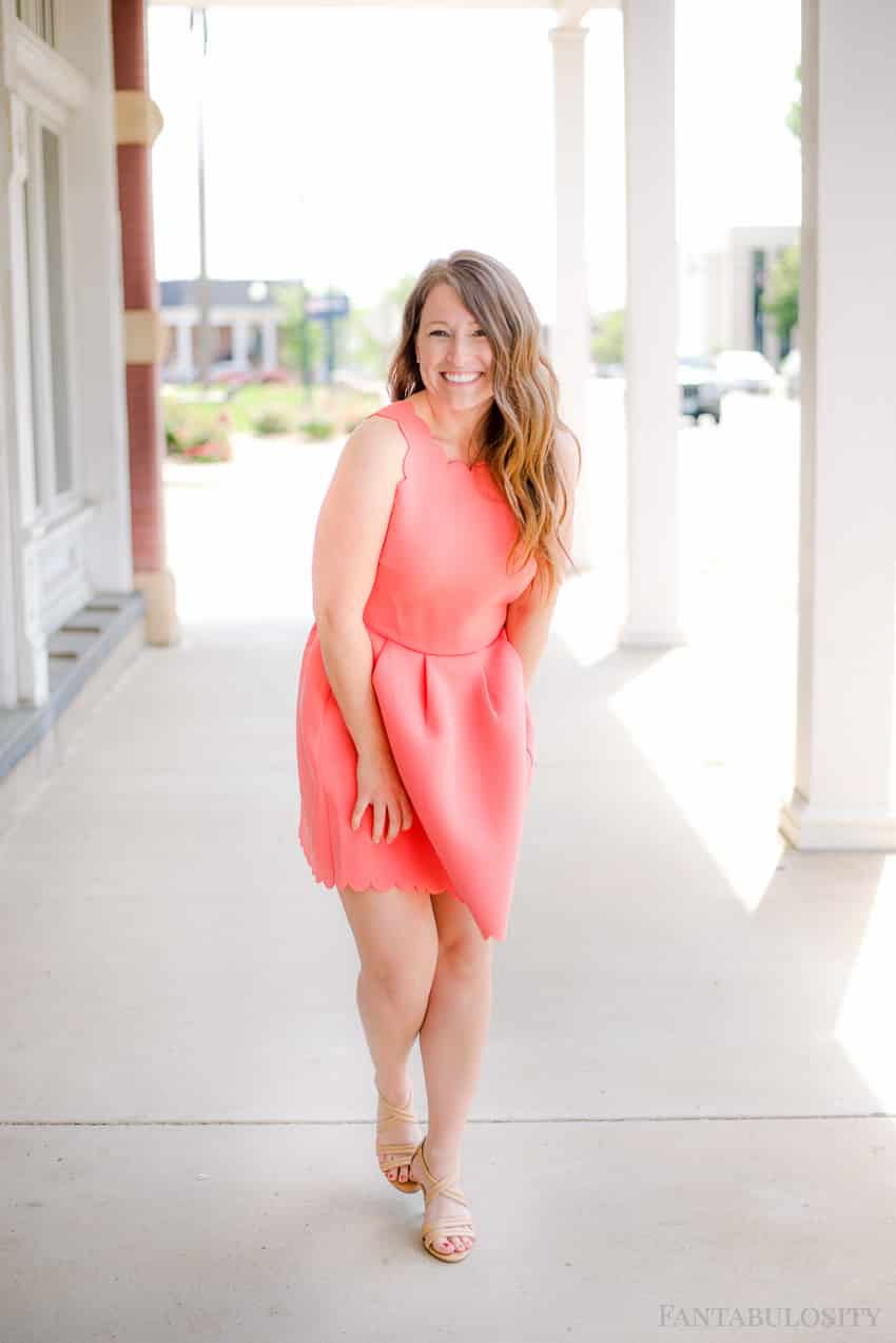 Pink Scalloped sleeveless dress is PERFECT for this summer! Coral scalloped dress