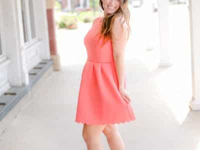 Scalloped sleeveless dress in coral! This is so cute and cheap too!