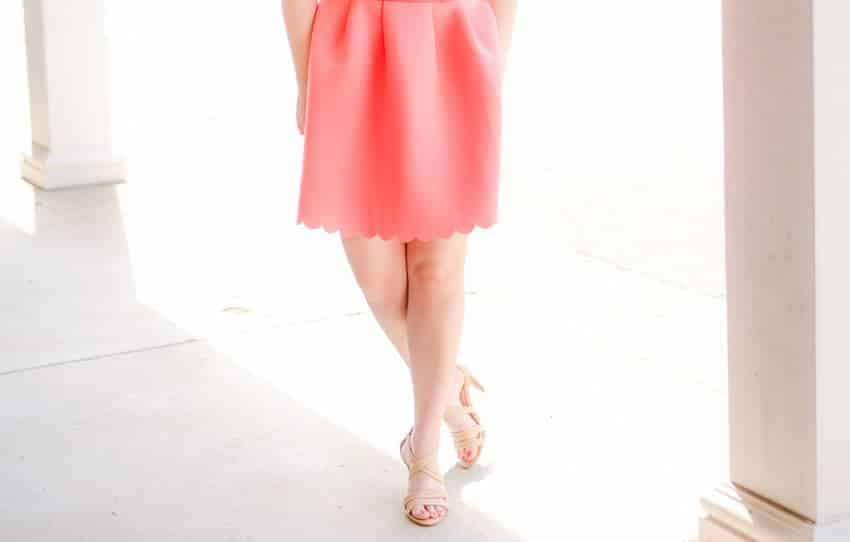 Love this Scalloped bottom on this coral dress