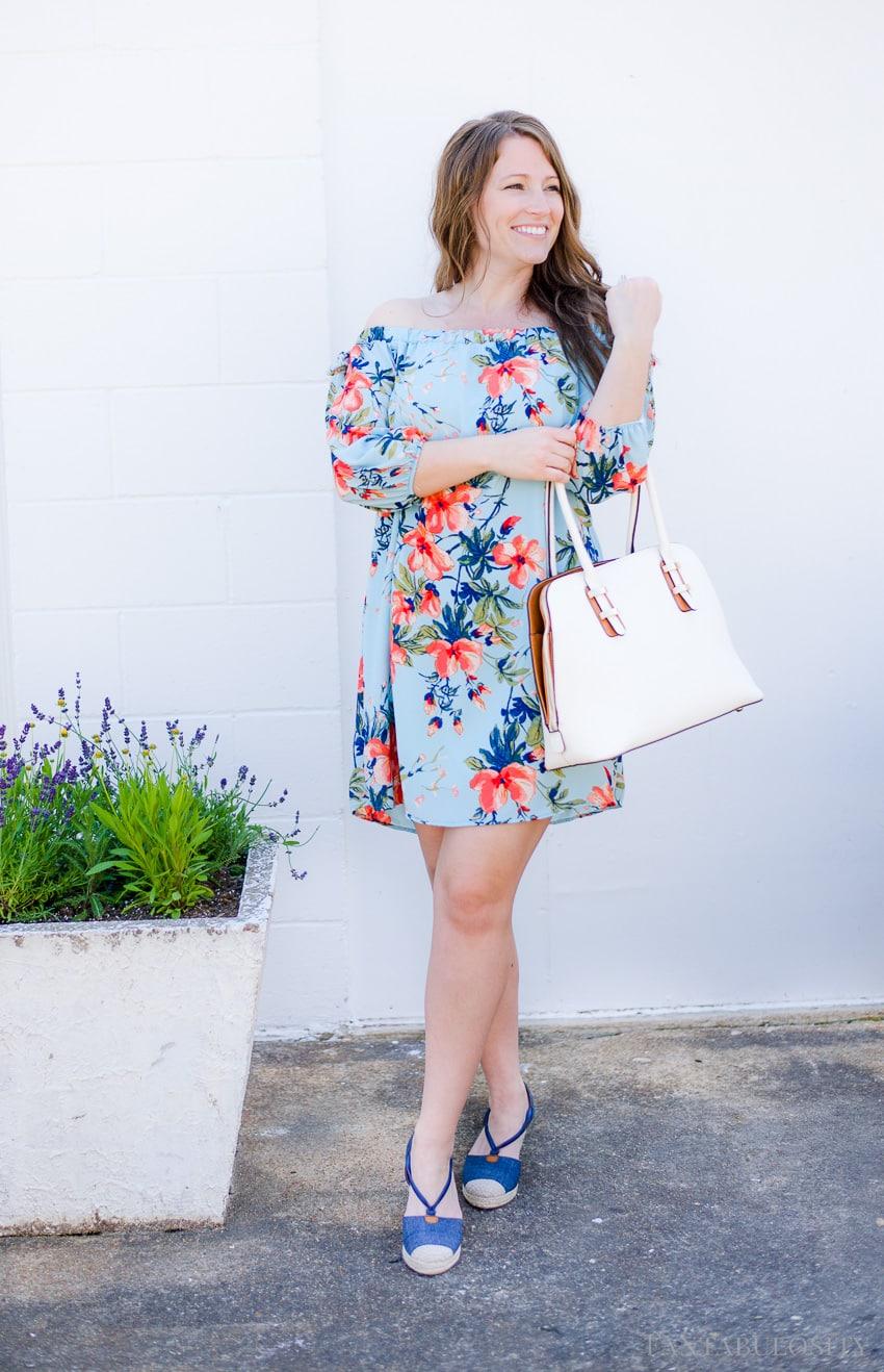 Floral off the shoulder dress - blue Spring shift
