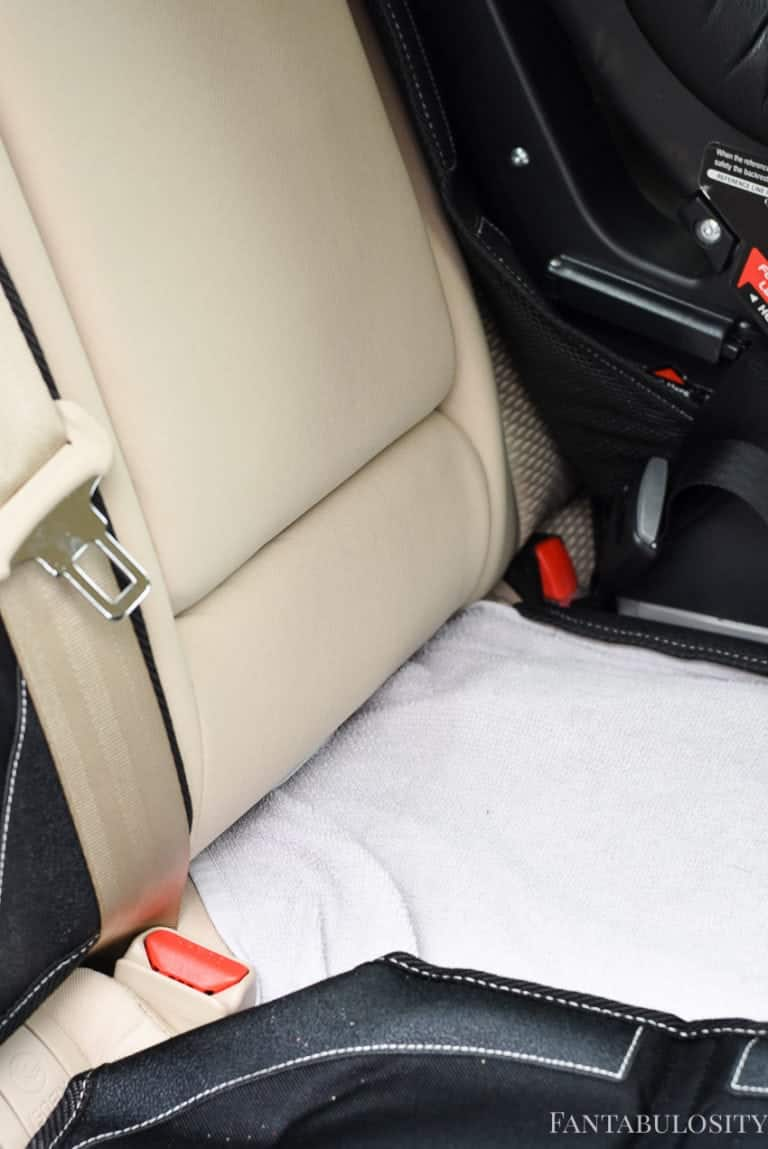 Lay a towel down to help protect the seats in the car