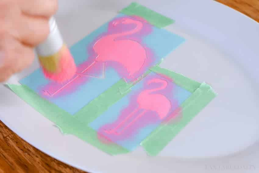 Pink stencils for drink serving tray using Martha Stewart paint