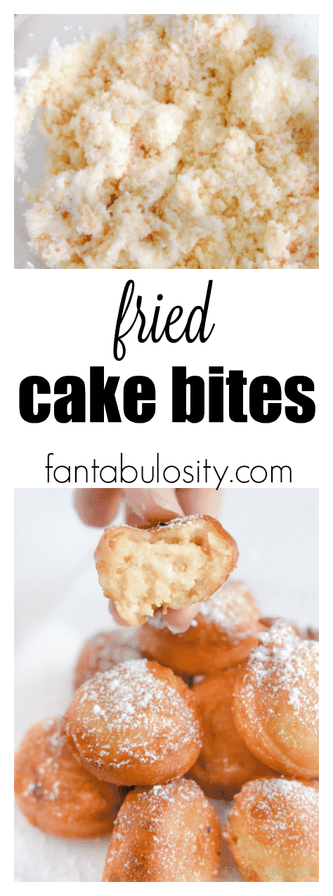 Fried Cake Bites - easy dessert idea for a carnival food at home. She even used a store bought cake to make it super easy!