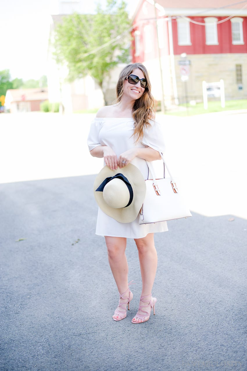 White off the shoulder shift dress; perfect for spring and summer day or night!