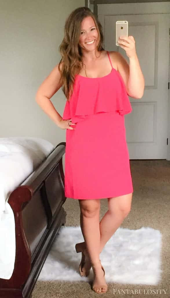 July 2017 Trunk Club Hot pink ruffle dress from trunk club from nordstrom
