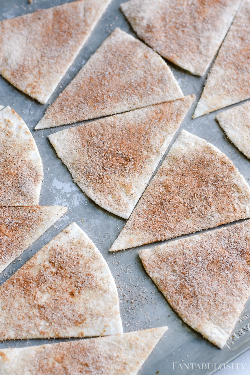 Slice each burrito size soft tortillas in to 8 triangles. After baking, top with the apple pie filling