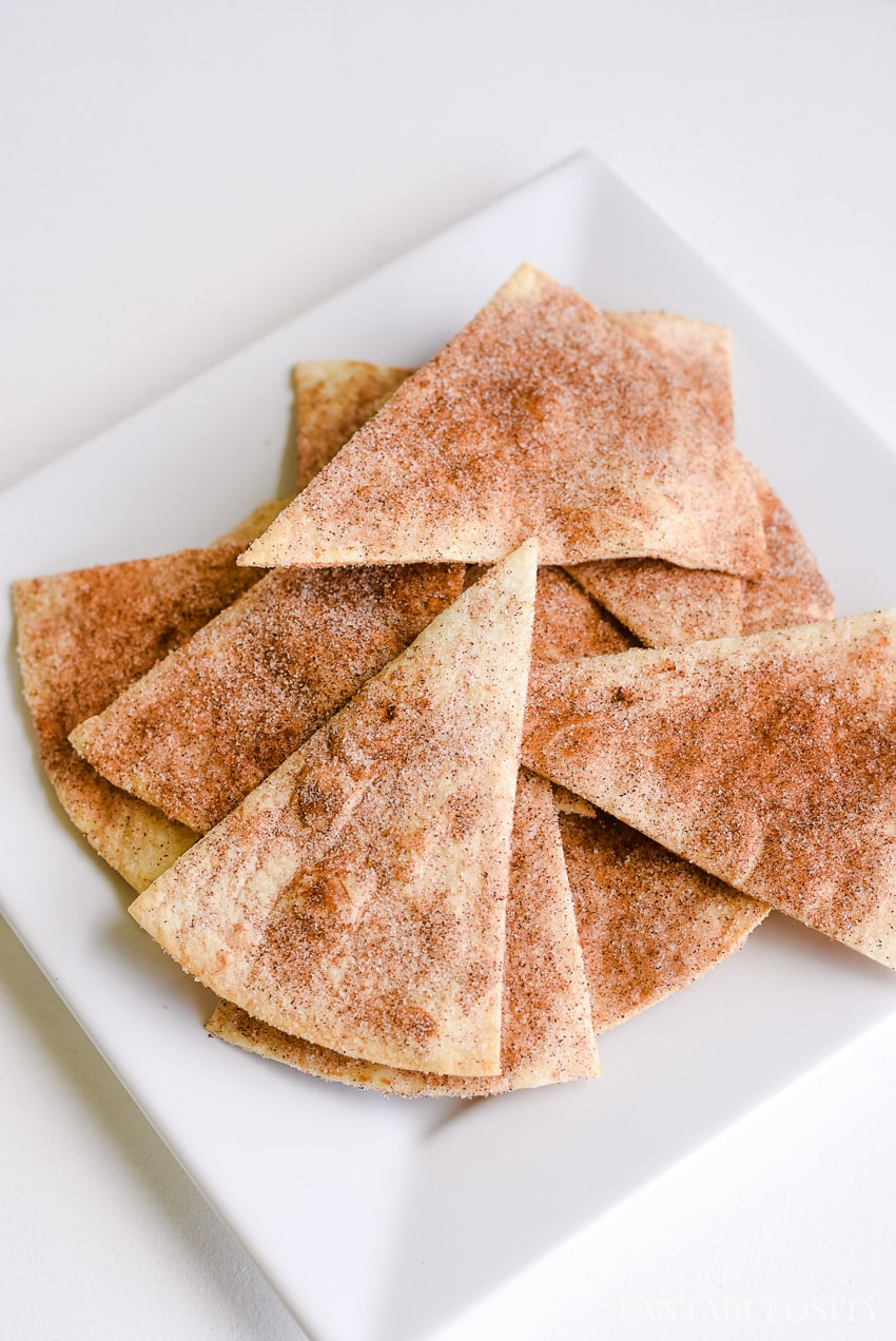Slice a burrito size soft tortilla in to triangles and bake them with sugar and cinnamon for a quick apple pie dessert