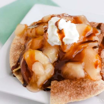Apple Pie Nachos - Cinnamon Sugar baked tortillas, topped with apple pie filling! fantabulosity