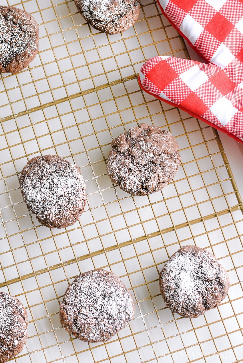 Easy chocolate cookie recipe with cream cheese, cake mix and powdered sugar
