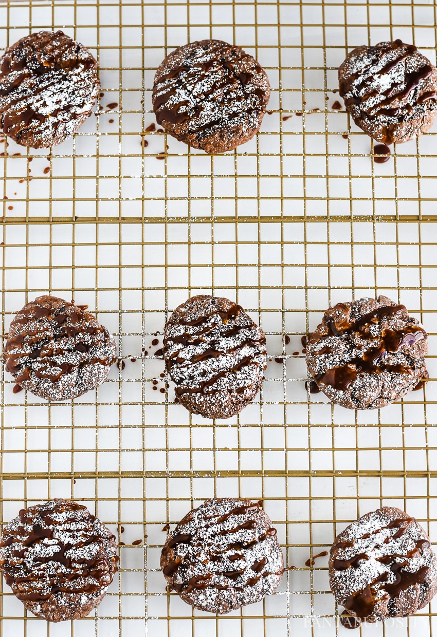 Let chocolate caramel gooey butter cookies cool on the wire rack