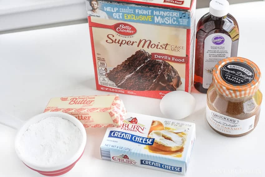 Ingredients for chocolate caramel gooey butter cookies