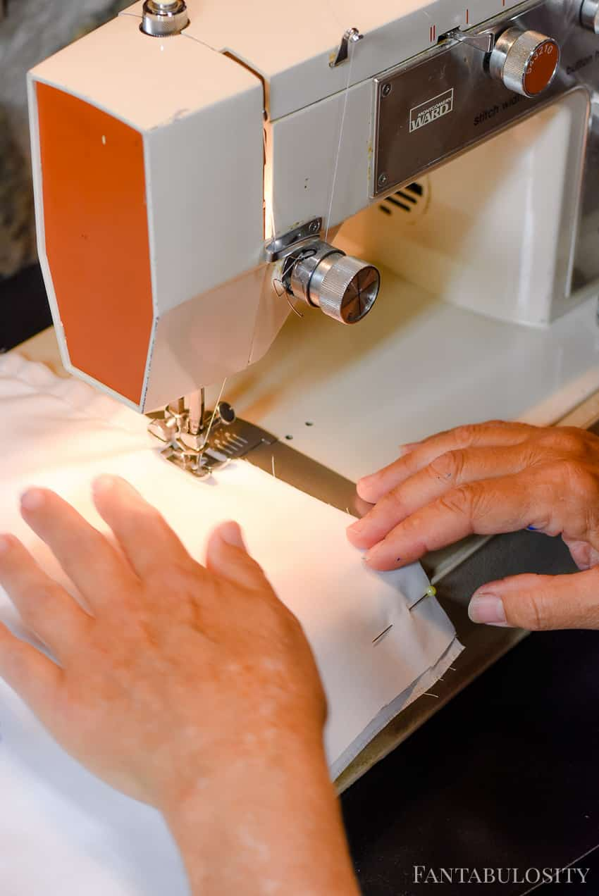 Sewing machine making a pillow cover and stenciling with Martha Stewart Crafts paint