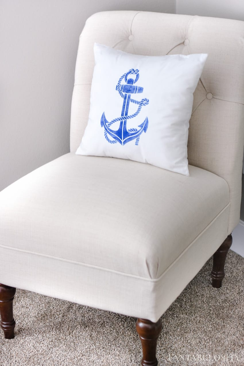 This anchor pillow was made using a Martha Stewart stencil from Michaels.