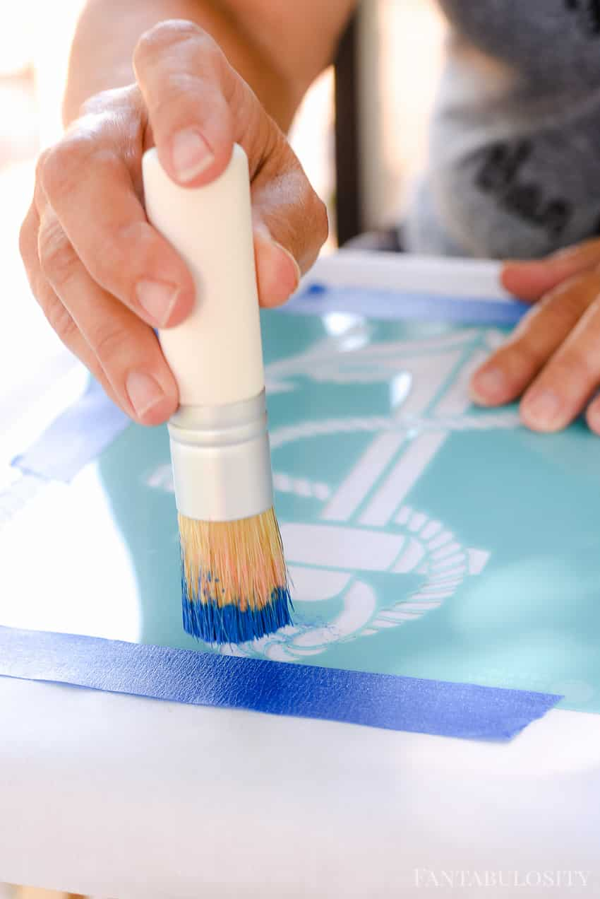 Stencil tutorial on to a pillow with this anchor cut out from Martha Stewart