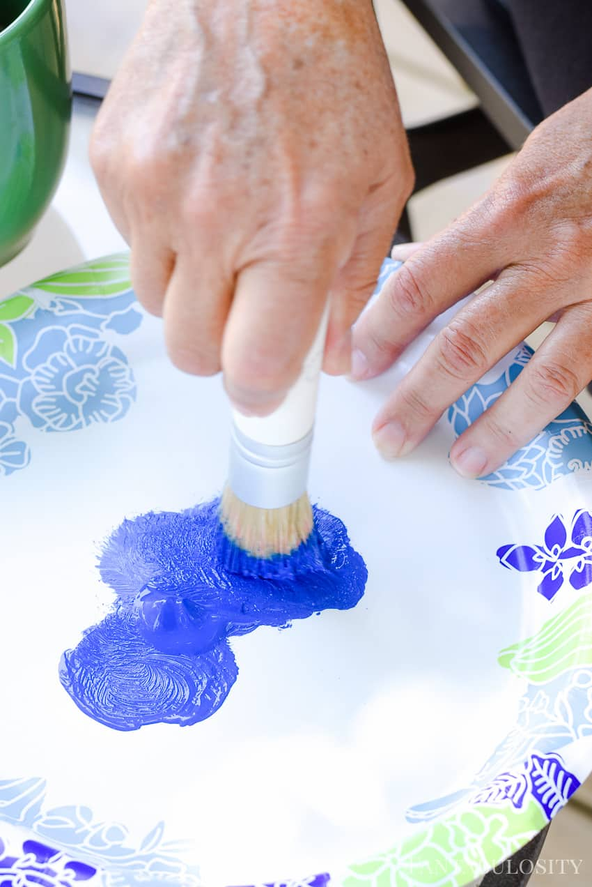 Dab stencil brush in to Martha Stewart Craft Paints