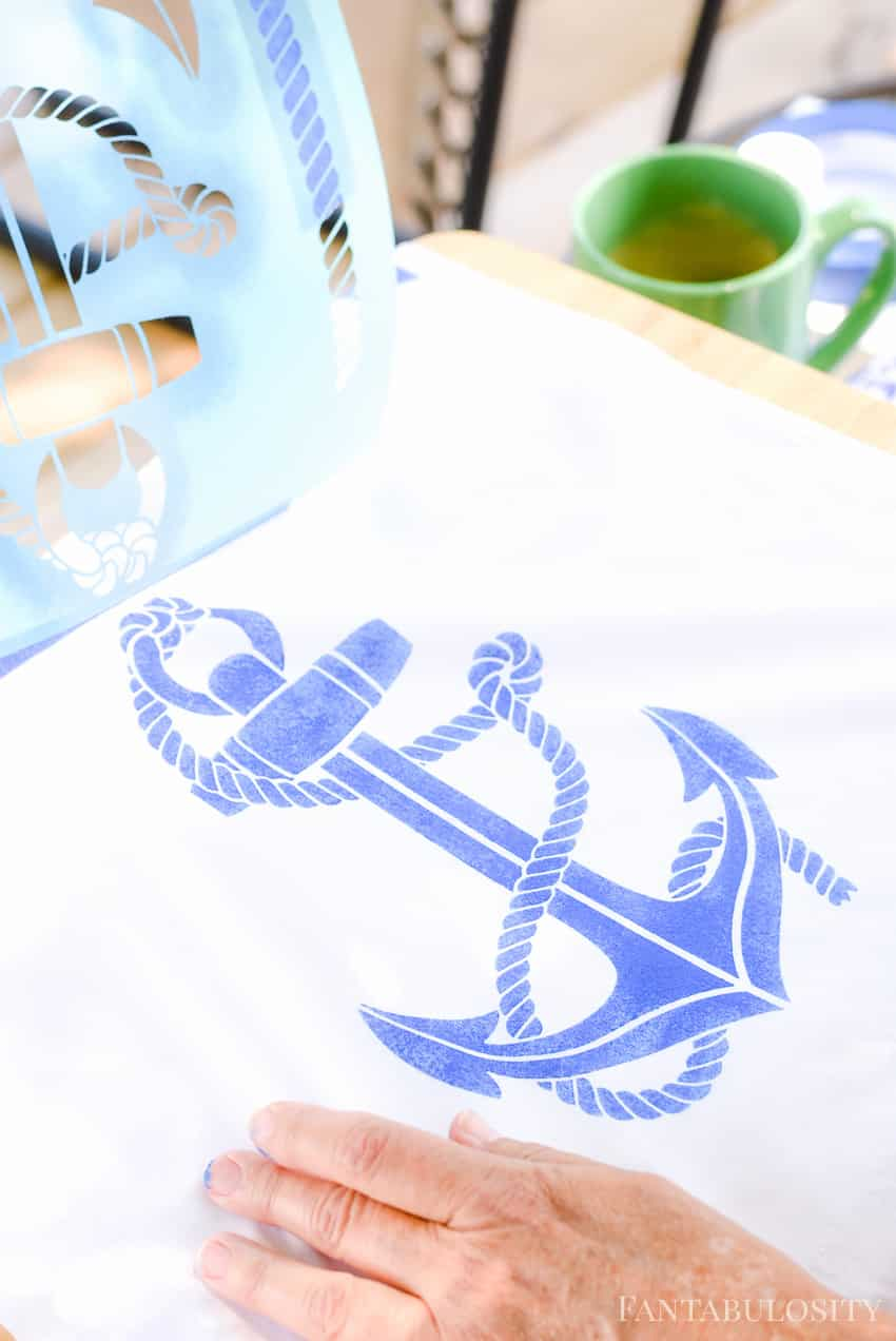 Love this anchor look. She's making a pillow using a stencil with Martha Stewart Crafts