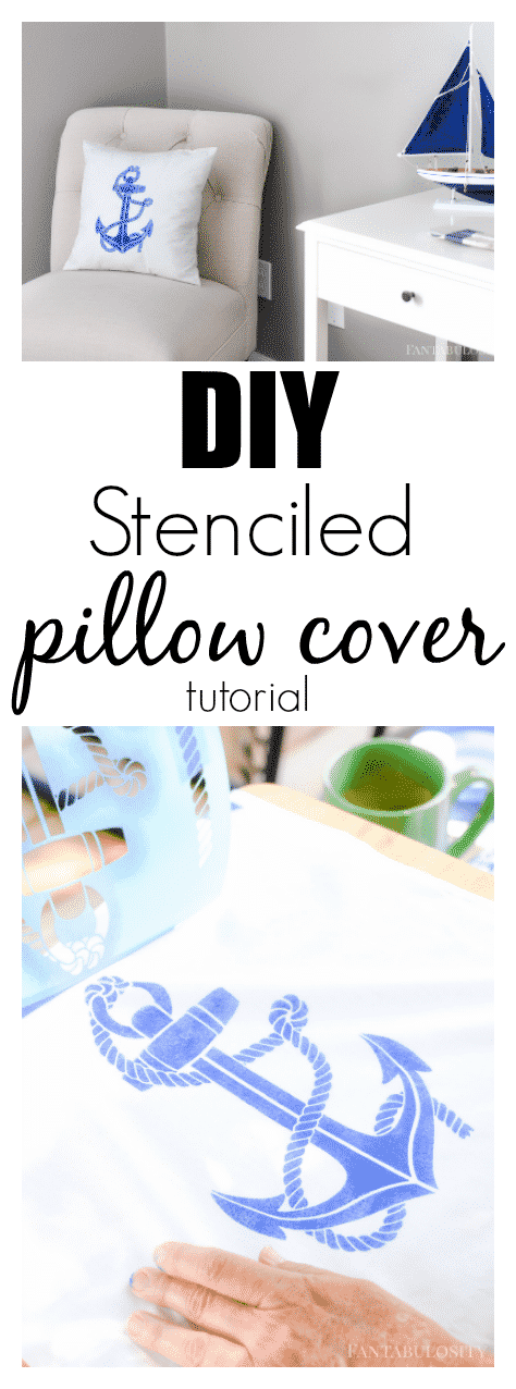 DIY Stenciled Pillow Cover tutorial using Martha Stewart Crafts paints and products. So easy to make this anchor pillow cover