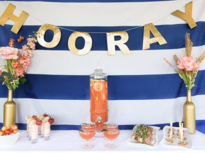 Hooray! A Summer Soiree! Loving the coral, navy and gold together in this outdoor party