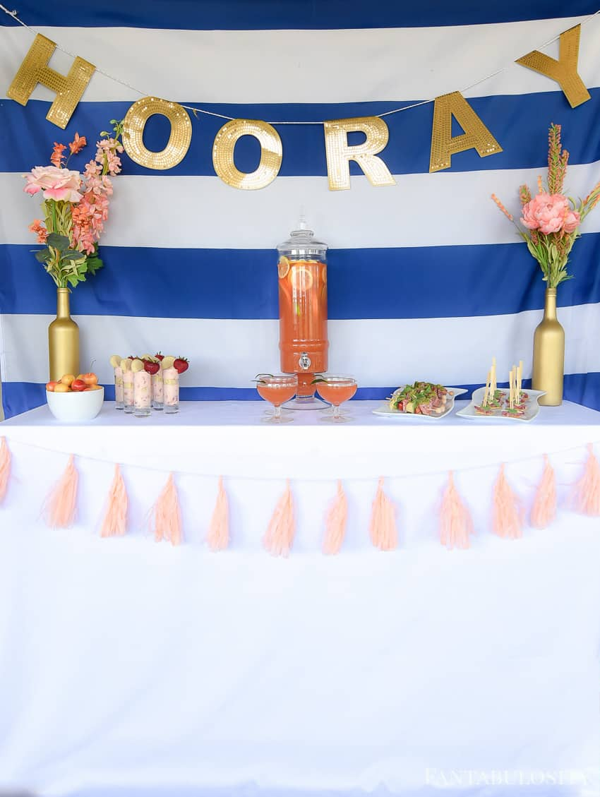 Wine bottle crafts image: LOVING the colors of this summer soiree! Navy coral and gold. So classy and elegant!