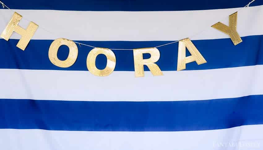 Hooray Banner for a summer soiree outdoor party