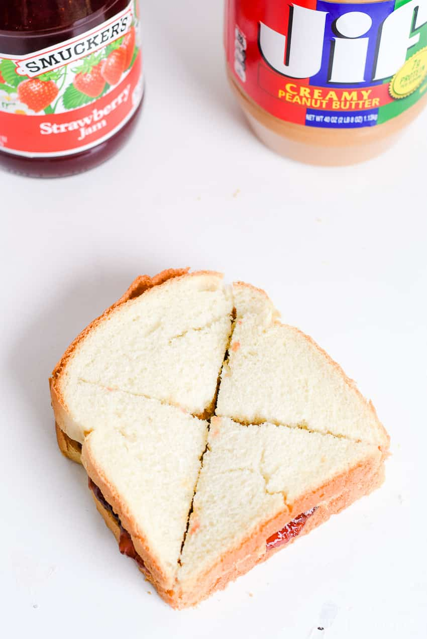 Slice sandwich crossways to make it easy for little hands! PB&J's for school lunches.