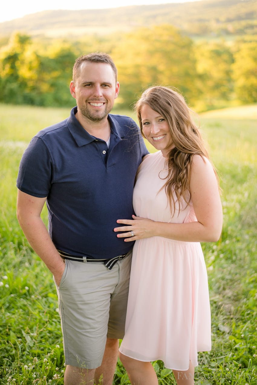 Husband and Wife Family Photos: Pink dress and blue shirt with gray shorts