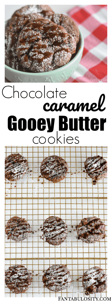 Oh my WORD! Chocolate Caramel Gooey Butter Cookies! These are so easy, and the caramel drizzle and adding it to the batter takes this original cookie to a whole new level with a chocolate cake mix!