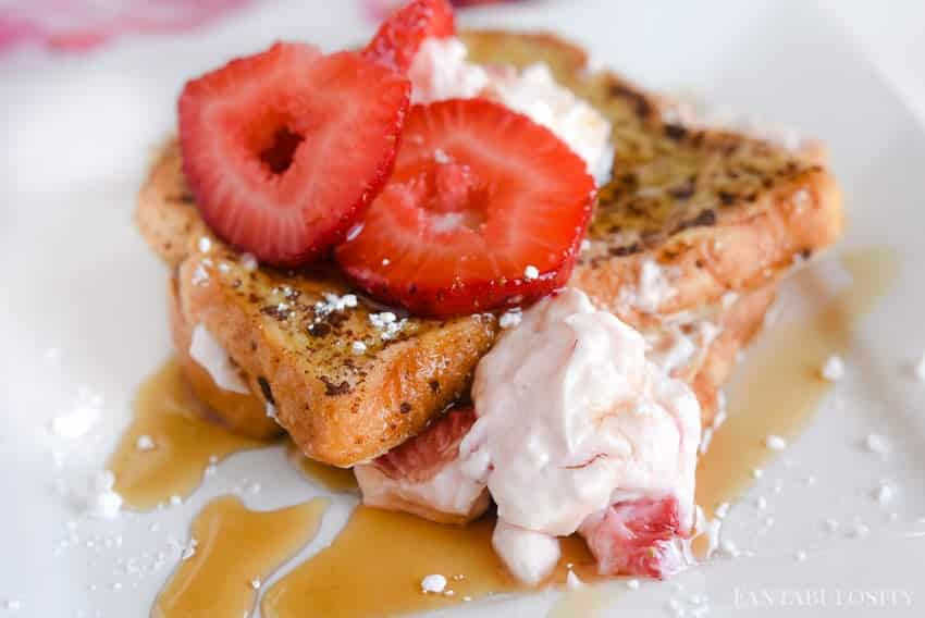 Stuffed Strawberry Cream Cheese French Toast: This is so easy and her husband said it was the BEST he's ever had.