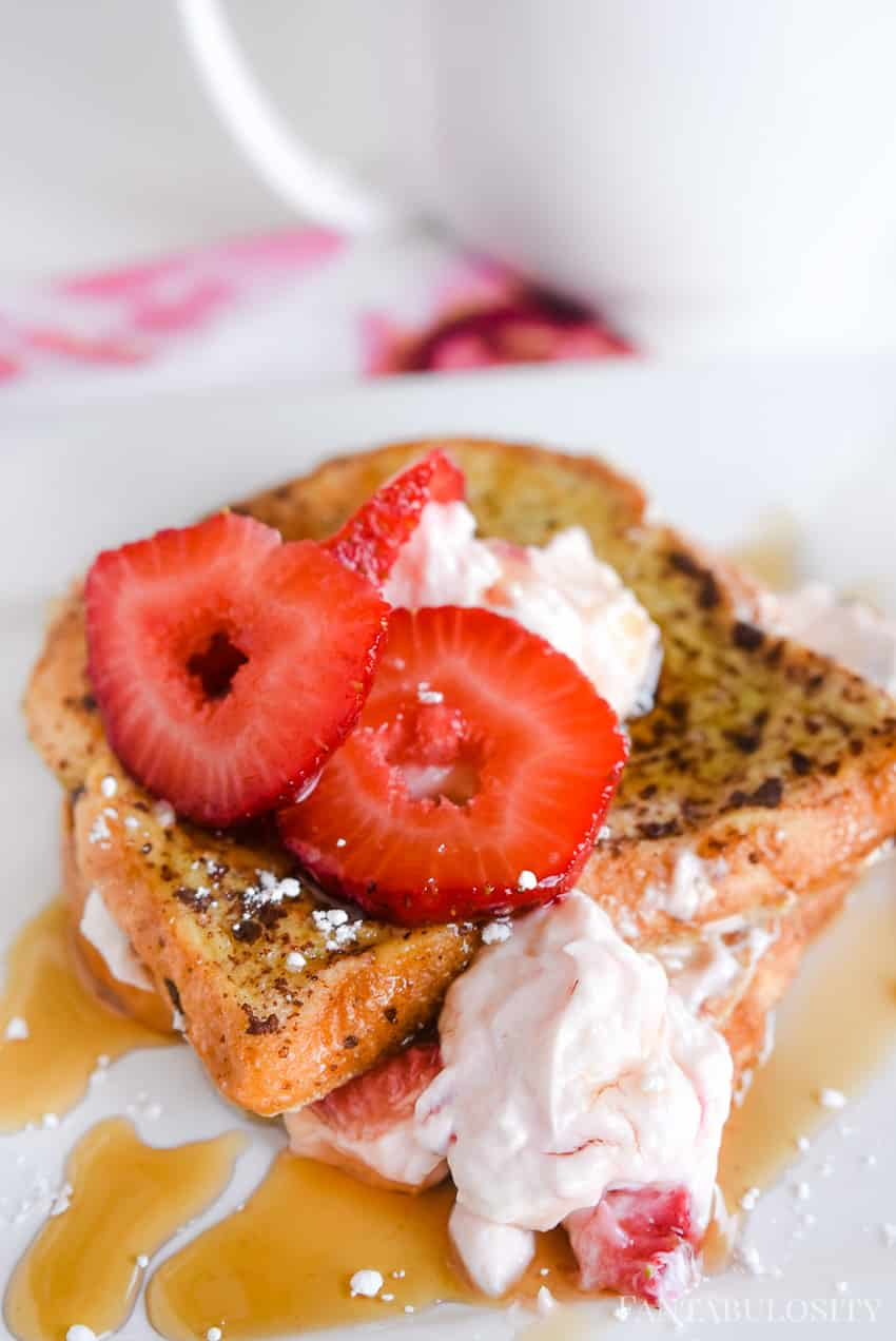 Homemade strawberry cream cheese filling for a stuffed french toast