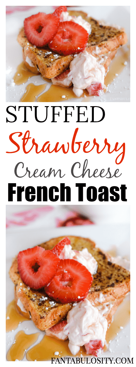 Oh MY!!! This stuffed french toast recipe is filled with cream cheese, powdered sugar and strawberries! Yes please!