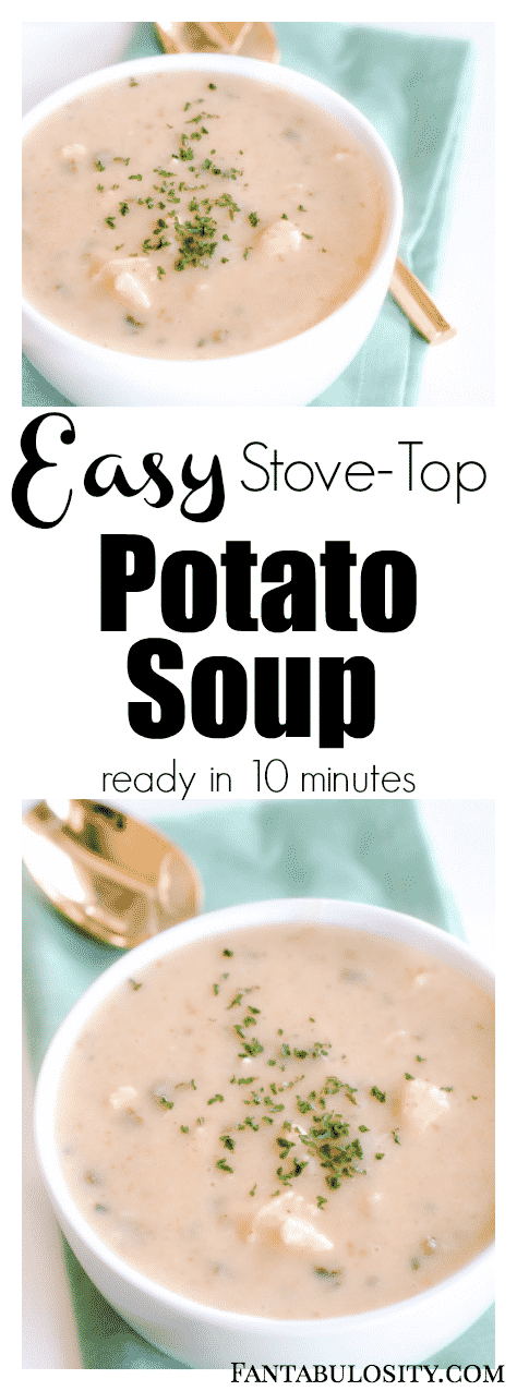 This easy potato soup recipe can be made in 10 minutes on the stovetop! Using instant potatoes makes this a breeze!