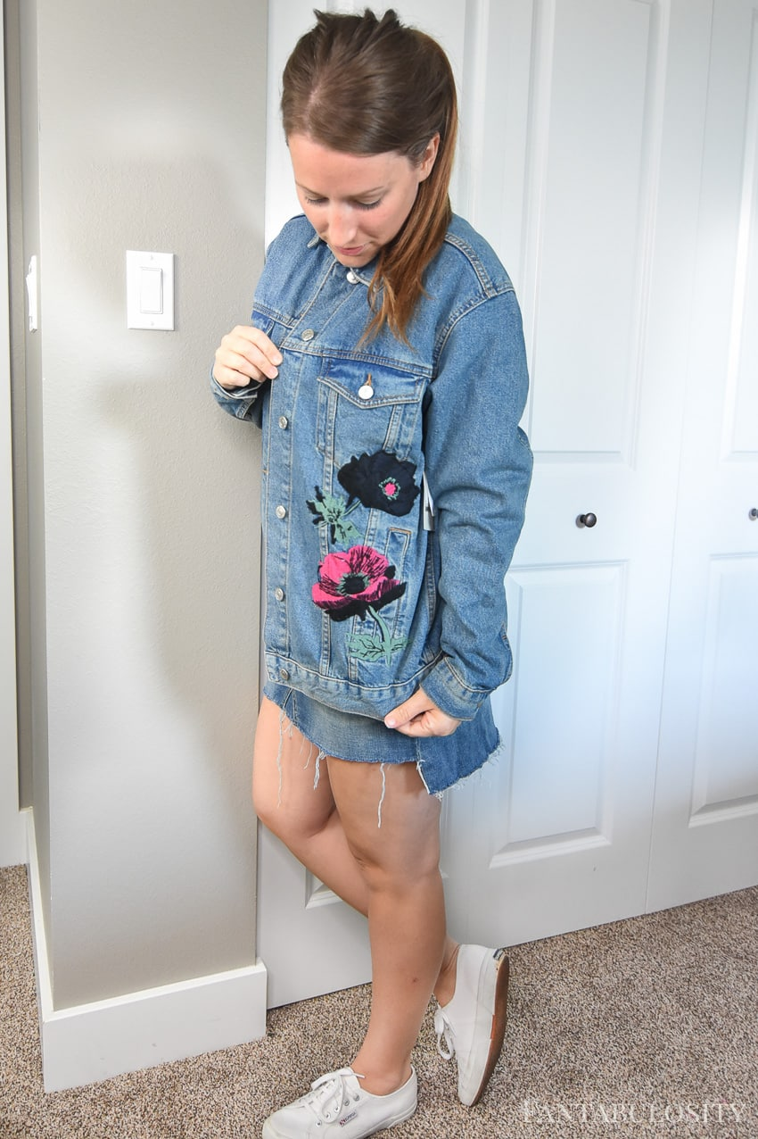 Denim floral jacket TopShop Nordstrom - Trunk Club August 2017 Try On and Unboxing video and photos