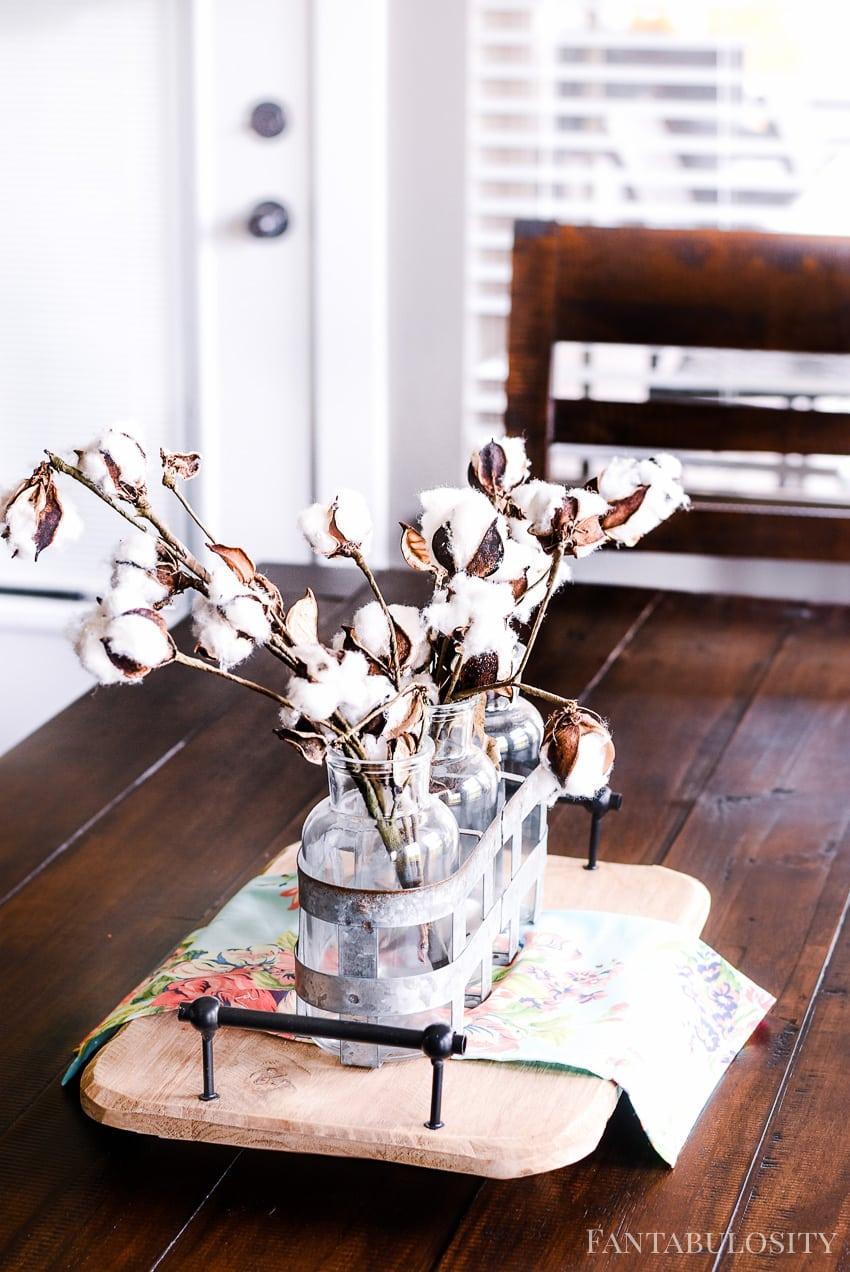 Cotton stems centerpiece - Breakfast Nook - Modern Farmhouse Craftsman Home