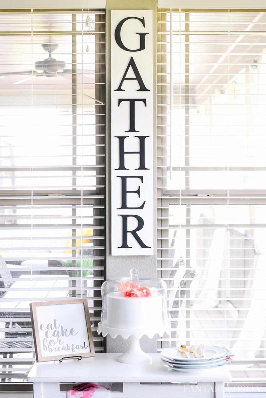 GATHER sign - Breakfast Nook - Modern Farmhouse Craftsman Home