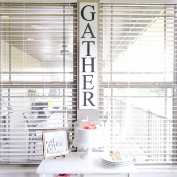 Gather DIY sign for Breakfast Nook - Modern Farmhouse Craftsman Home